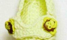 Fıstık Yeşili Ayakkabı Modelli Bebek Patik Örneği