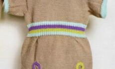 Renkli Üzeri İşlemeli Örgü Bebek Elbise Modeli
