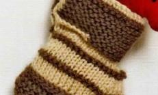 İki Renkli Çorap Modelli Örgü Bebek Patik Örneği