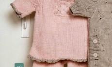 Kenarları Tığ İşlemeli Pembe Renkli Bebek Kazak Modeli