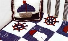 Gemi Modelli Erkek Çocuk Battaniye ve Yastık Örneği