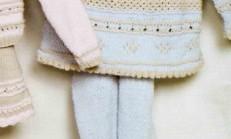 Yakadan Düğmeli Desenli Bebek Kazak Modeli