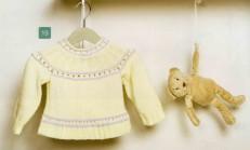 Krem Rengi Düz Örgü Bebek Kazak Örneği