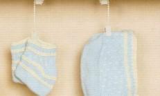 Mavi Renkli Erkek Bebek Şapka ve Patik Takımı