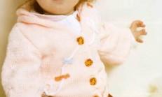 Kapüşonlu Süslü Kız Bebek Hırka Modeli