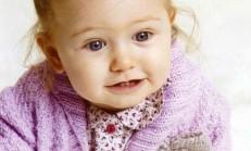 Fiyonklu Lila Renkli Kız Bebek Hırka Modeli