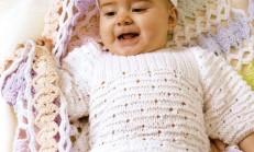 Beyaz Renkli Örgü Bebek Kazak Modeli