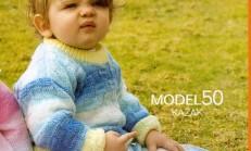 Küp Örgü Modelli Çocuk Kazağı ve Pantolon Takımı Örneği