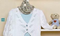 Beyaz Renkli Fıstık Modelli Bebek Hırka Örneği