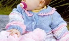 Dalga Desenli Renkli Bebek Hırka Modeli