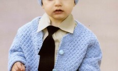Sepet Örgü Modelli Erkek Bebek Hırka ve Şapka Takımı