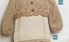 Toprak Rengi Fırfırlı Örgü Bebek Elbise Modeli