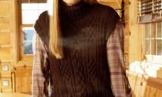 Kahverengi Boğazlı Sıfır Kollu Bayan Süveter Tunik Modeli
