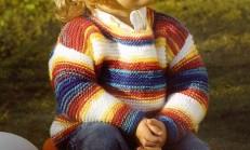 Haraşo Modelli Renkli Yuvarlak Yaka Bebek Kazağı Örneği