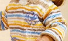 Düz Örgü Renkli Çocuk Kazak Modeli