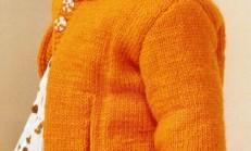 Turuncu Renkli İki Düğmeli Kız Çocuk Hırka Modeli