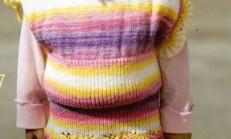 Gökkuşağı Renkli Kız Çocuk Örgü Süveter Etek ve Şapka Takımı