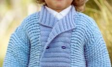 Mavi Renkli Erkek Çocuk Örgü Ceket Modeli