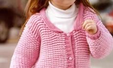 Pembe Renkli Ceket Modelli Kız Çocuk Hırka Örneği