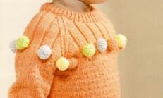 Örgü Ponpon Süslemeli Kız Çocuk Kazak Modeli