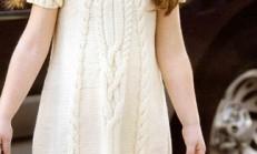 Krem Rengi Saç Örgü Modelli Kısa Kollu Elbise Modeli