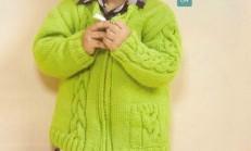 Saç Örgüsü Desenli Yeşil Erkek Çocuk Hırka Modeli