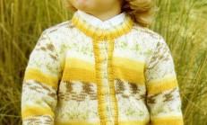Sarı Renkli Yuvarlak Yaka Örgü Çocuk Hırka Modeli