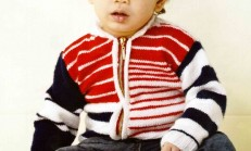 Fermuarlı Kırmızı Beyaz Erkek Çocuk Hırka Modeli