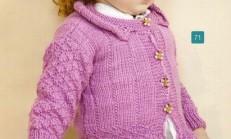 Fuşya Rengi Ceket Yaka Kız Çocuk Hırka Modeli