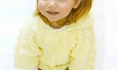 Burgu Desenli Kapüşonlu Kız Çocuk Hırka Modeli