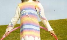 Çiçek Süslemeli Rengarenk Kız Çocuk Elbise Modeli