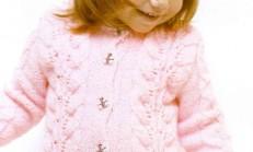 Ajur Desenli Pembe Çocuk Hırka Modeli