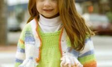 Örgü Jile ve Renkli Fırfırlı Çocuk Bolero Modeli