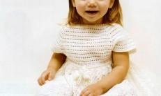 Pıtırcık Oyası Beyaz Kız Çocuk Elbise Modeli