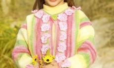 Çiçek Motifi İşlemeli Rengarenk Çocuk Hırka Modeli