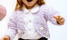Oval Çiçek Süslemeli Tığ İşi Çocuk Bolero Hırka Modeli