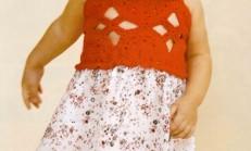 Tığ İşi Kırmızı Renkli Örgü ve Kumaş Çocuk Elbise Modeli