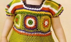 Renkli Tığ İşi Kız Çocuk Tunik Bluz Modeli