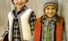 Kız ve Erkek Çocuklar İçin İki Renkli Örgü Yelek Modeli