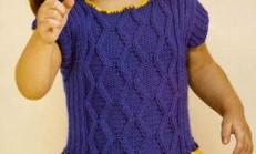 Sarı Lacivert Kız Çocuk Örgü Elbise Modeli