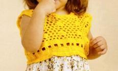 Sarı Renkli Tığ İşi File Örgü Kız Çocuk Elbise Modeli