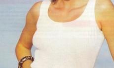 İnce Askılı Beyaz Kolsuz Triko Bluz Modeli