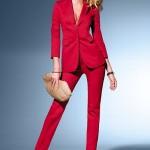 Kırmızı skinny pantolon ve ceket takımı