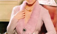 Yakası Kürklü Örgü Bayan Hırka Modeli