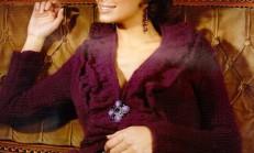 Fırfırlı Örgü Bordo Renkli Bayan Hırka Modeli