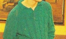 Yeşil Saç Örgülü Erkek Kazak Modeli