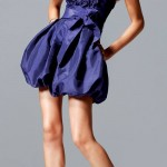 balon etekli straplez abiye lacivert elbise