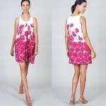 beyaz üzerine pembe çiçek baskılı elbise modeli