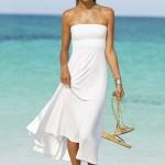 beyaz straplez maksi elbise modeli