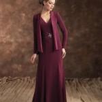 bordo uzun saten elbise modeli örneği